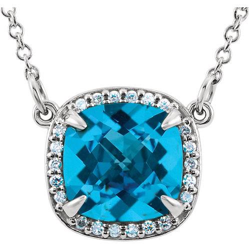 """14K White Swiss Blue Topaz & .06 CTW Diamond 16"""" Necklace"""
