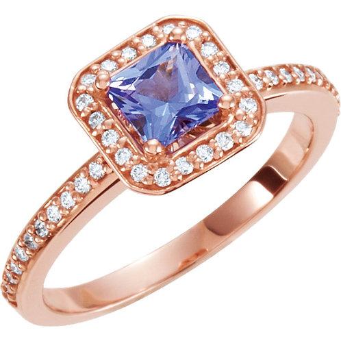 14K Rose Tanzanite & 1/5 CTW Diamond Engagement Ring