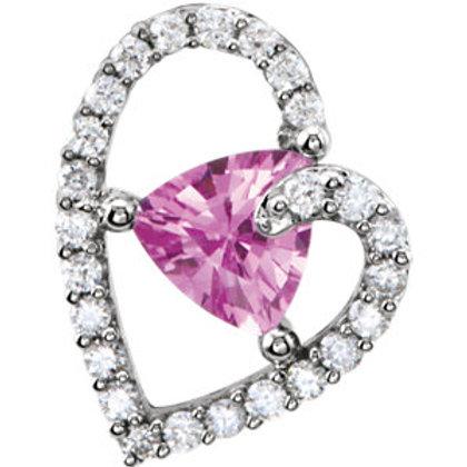 14K White Pink Sapphire & 1/5 CTW Diamond Pendant