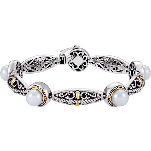 Sterling Silver & 14K Yellow Freshwater Cultured Pearl Bracelet