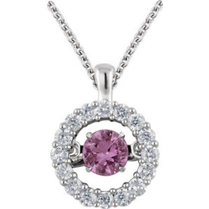 "14K White Pink Sapphire & 1/5 CTW Diamond 18"" Mystara® Necklace"