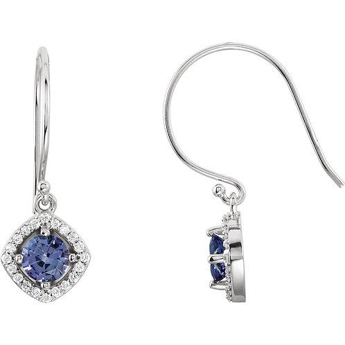 14K White Tanzanite & 1/5 CTW Diamond Earrings