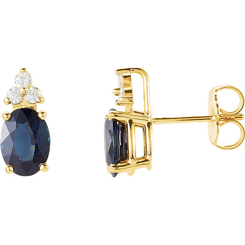 Blue Sapphire & Diamond Accented Earrings