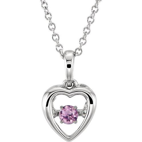 """14K White Pink Sapphire 18"""" Mystara® Necklace"""