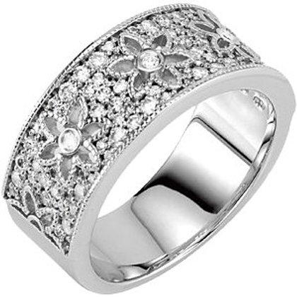 14K White 5/8 CTW Diamond Floral-Inspired Anniversary Band
