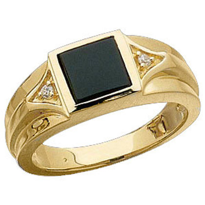 Men's Onyx & Diamond Ring
