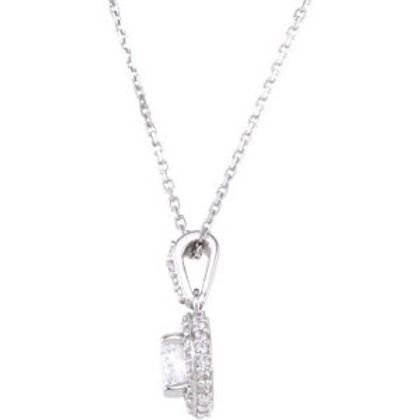 """14K White Forever Classic™ Moissanite 18"""" Necklace"""