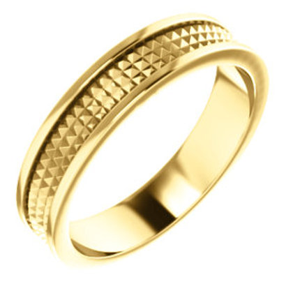 14K Yellow Gold Geometric Pyramid Wedding Band