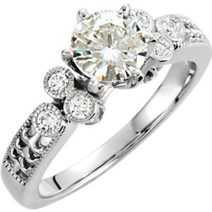 14K White 6.5mm Round Forever Classic™ Moissanite & 1/6 CTW Diamond Engagement R