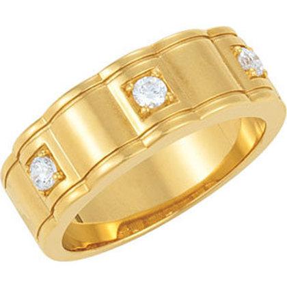 14K Yellow 1/4 CTW Diamond Men's 3-Stone Ring