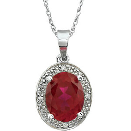 14K White Lab Created Ruby & .02 CTW Diamond Necklace