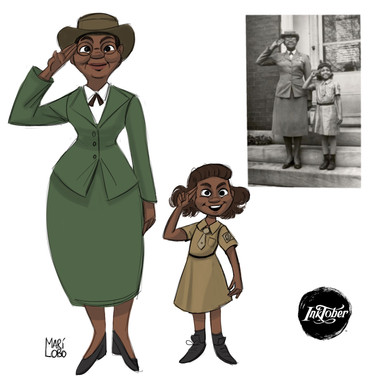 Quick Sketch made on Procreate app. Josephine Halloway ( and her grand daughter) was the first African American troop leader and lobbied for African Americans to be allowed to be involved in girls scouts! Circa 1952 Tennessee
