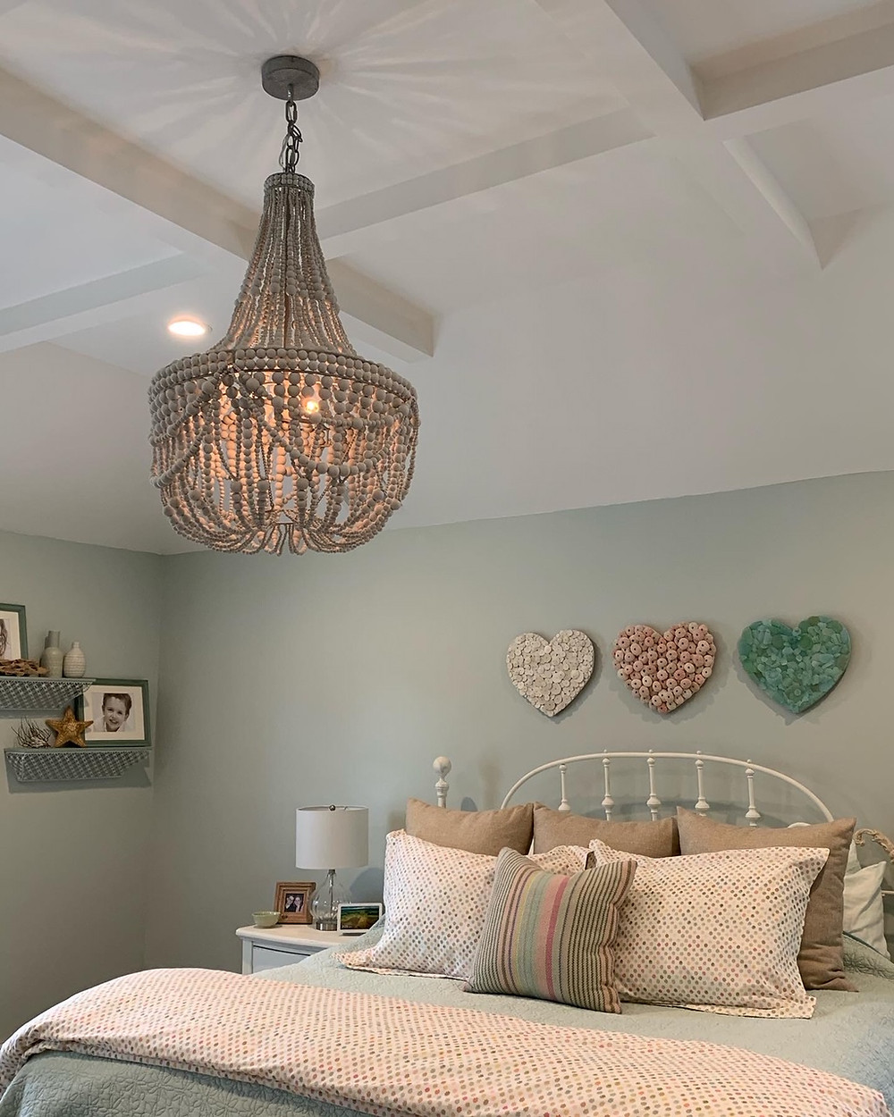 The finished hearts in our master bedroom.