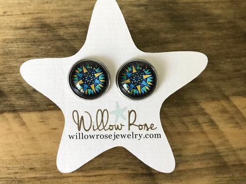 Compass Rose Stud Earrings
