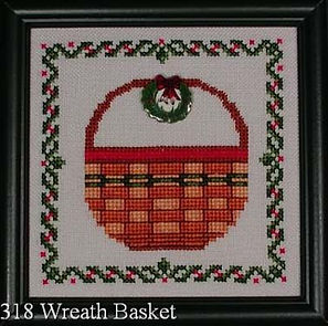 Wreath Basket Cross Stitch Pattern