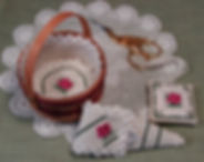 Mini Round Basket Liner, Scissor Fob and Case, with roses. , Counted Specialty Cross Hardanger Stitch Pattern