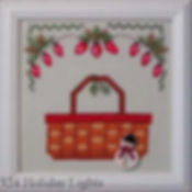 Red Holiday Light Bulbs Basket Cross Stitch Pattern with Pine Needles