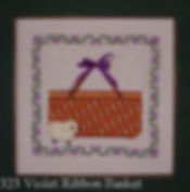 Violet Ribbon Basket Cross Stitch Pattern