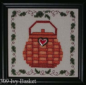 Round Ivy Vine Basket Cross Stitch Pattern