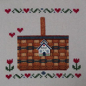 Hearts and Tulips Basket Cross Stitch Pattern