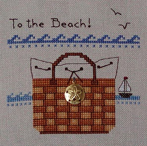 To the Beach Basket Tote Cross Stitch Pattern with sail boat
