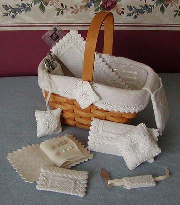 Basket Liner, Needle Book, Pin Cushion, Scissor Fob, Ruler Case, Needle Threader Cover, Scissor and Orts Pockets Cross Speciatlty Hardanger Pattern
