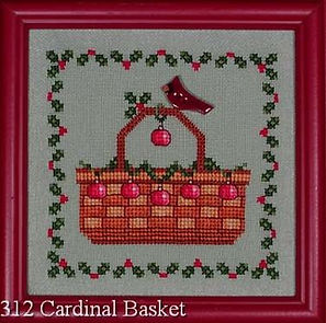 Cardinal and Ivy Red Holiday Christmas Bulbs Basket Cross Stitch Pattern with Garland