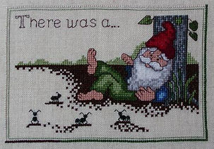 There Was A Gnome Sleeping Under a Tree with Ants Cross Stitch Pattern