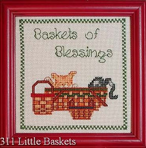 Baskets of Blessings with Kittens Cross Stitch Pattern