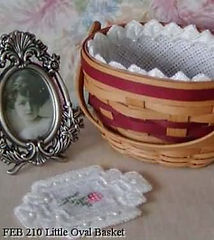 Oval Mini Basket Liner with doily, Counted Specialty Cross Hardanger Stitch Pattern