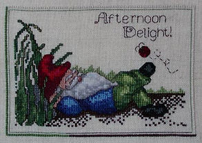 Afternoon Delight Sleeping Gnome with Lady Bug Cross Stitch Pattern