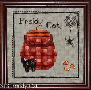 Fraidy Cat Halloween Basket Cross Stitch Pattern with Candy Corn and Spider