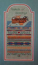 Baskets of Blessings Kitten Band Sampler, Counted Cross Specialtiy Stitch Pattern