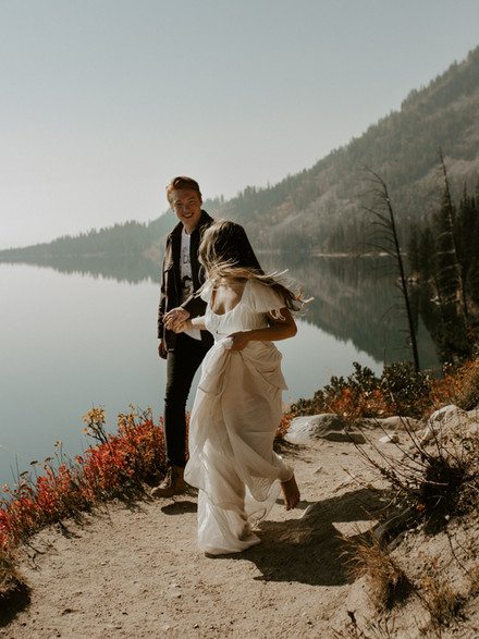 Alivia and Tristans sunny wyoming couples session in Grand Teton National Park