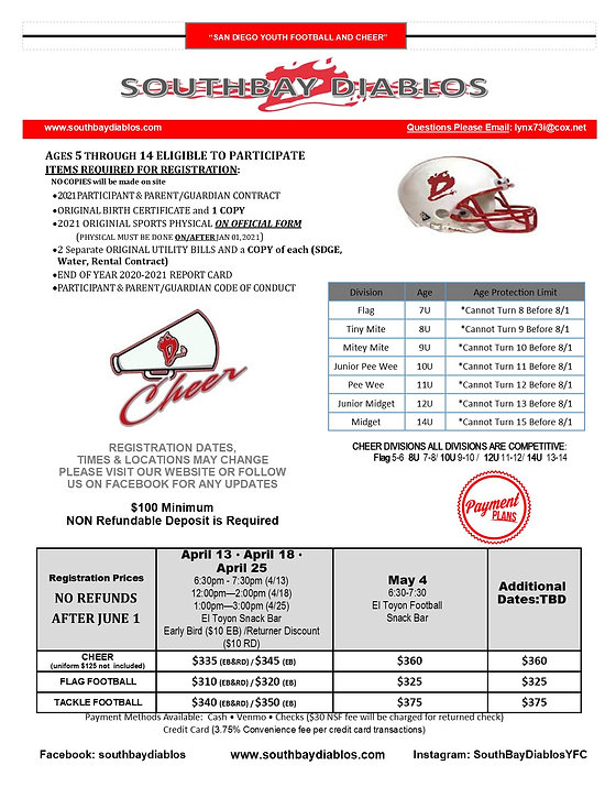 Southbay Diablos 2021 Registration Flyer
