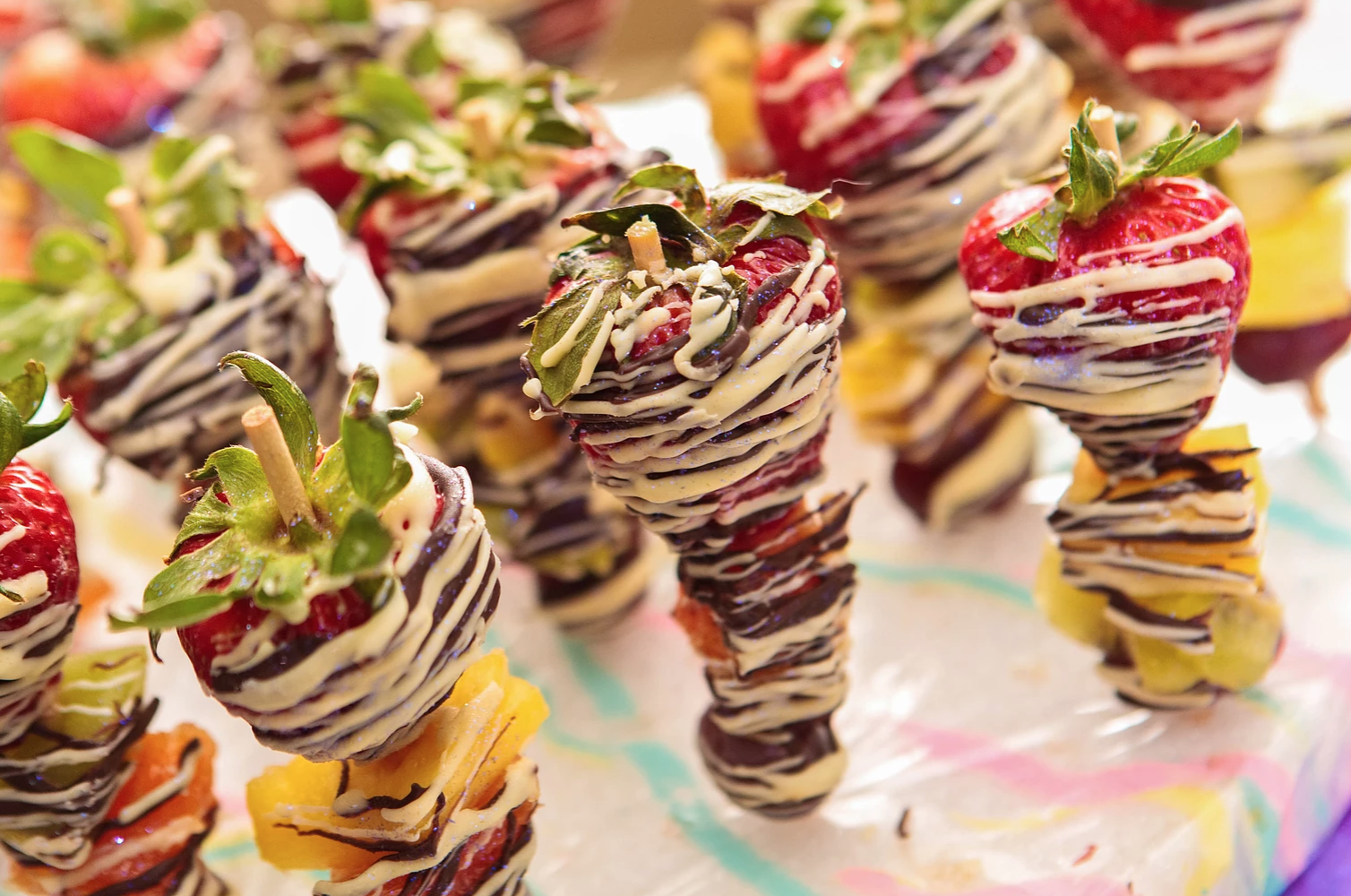 Chocolate Drizzled Fruit Kabobs