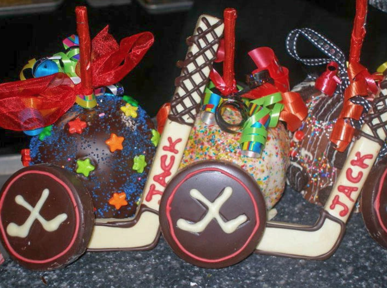 Hockey Themed with Caramel Apples