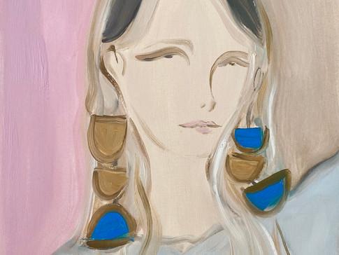 Petra 02 (Her Earrings), 2020 36x48 cm. Oil on paper