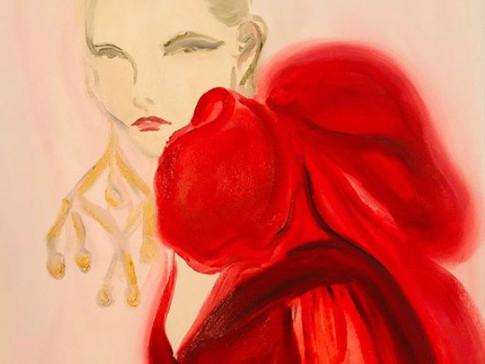 Elie Saab Red Hues, 2020 36x48 cm. Oil on paper