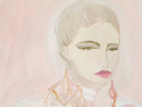 Elie Saab Pink Hues, 2020 36x48 cm. Oil on paper