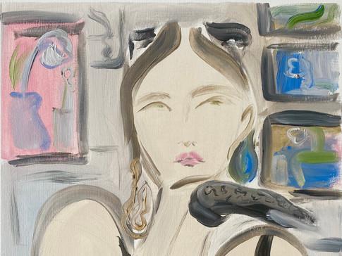 Nicole in Her Studio, 2020 36x48 cm. Oil on paper
