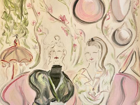 Heidi & Elisa of Young Finnish Design, 2020 50x65 cm. oil on paper