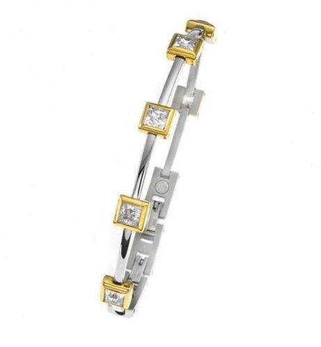 Bracelet Bi-coloured with cubic zirconias