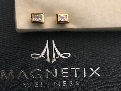 Magnetic Square Stud Earrings with cubic zirconia