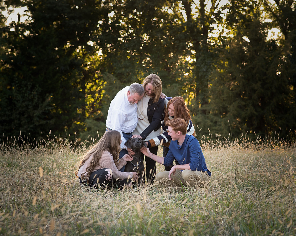 fall family portrait with dog, Nebraska family photographer