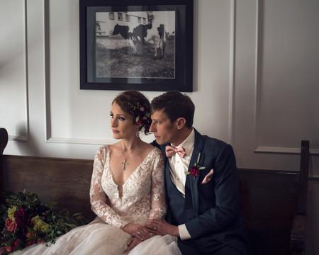 wedding couple portrait at Ackerhurst Dairy Farm in Bennington, Nebraska
