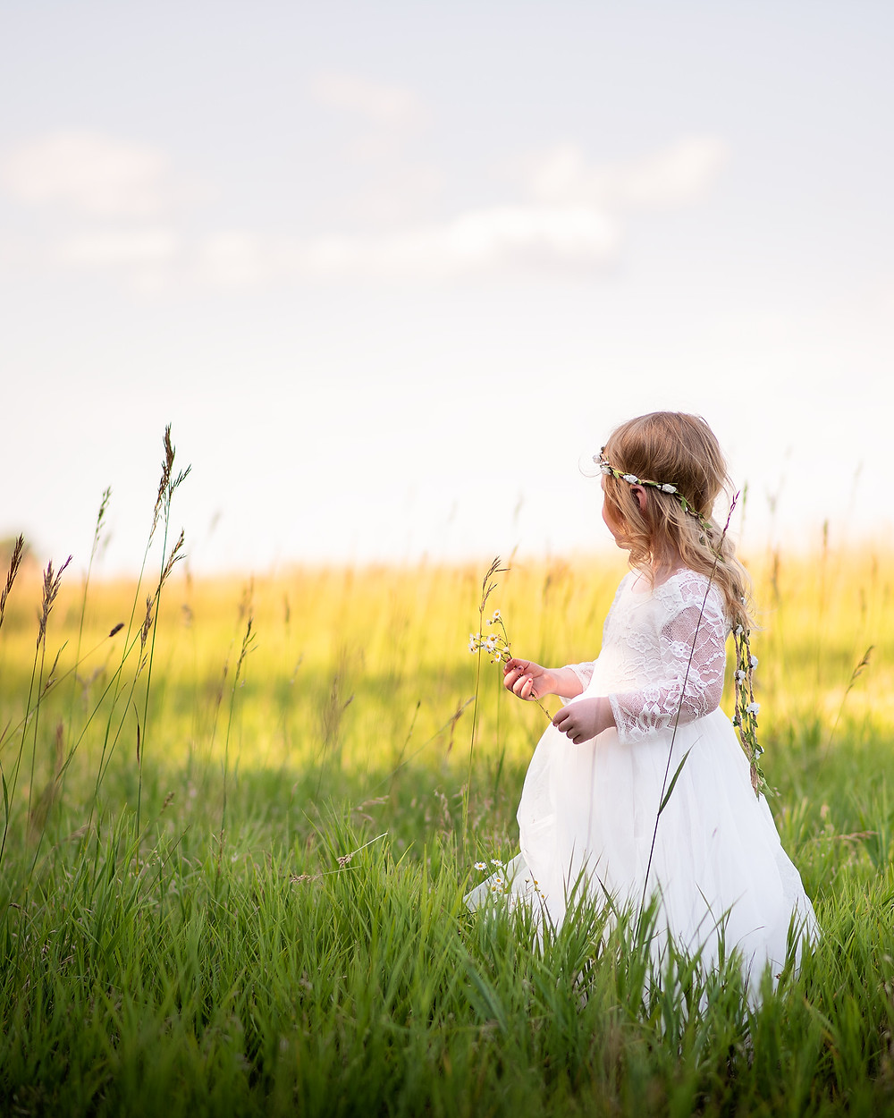 princess looking into the skyline in Gretna, Nebraska field.