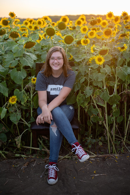 teen girl sitting in chair posing in a field of sunflowers at Nelson Produce in Valley, NE