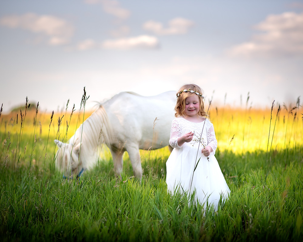 girl playing with grass in front of pony in field in Gretna, Nebraska