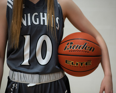 close up of Knights jersey and Baden basketball in Murdock, Nebraska